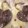 Foto Stock: Two wooden hearts