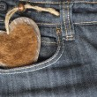 Stock Photo: I love you, jeans and heart