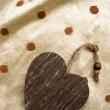 Riser card, wooden heart — Stock Photo