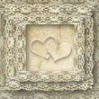 Vintage lace card two hearts — Stock Photo