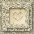 Vintage lace card one heart — Stock Photo