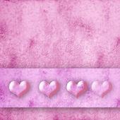 Cuatro corazones rosa fondo — Foto de Stock