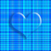 Plaid heart card in blue tone — Stock Photo