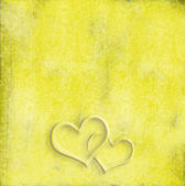 Yellow background two hearts — Stock Photo