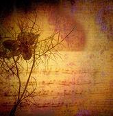 старинный фон, цветок и оценка — Стоковое фото
