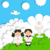 First communion card funny, brown pair of children — Stock Photo