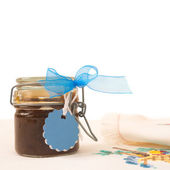 Jam jar with blank label for text — Stock Photo