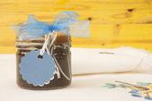 μαρμελάδα βάζο με λευκά label για κείμενο — Φωτογραφία Αρχείου