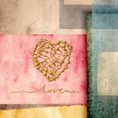 Greeting card background lovers golden heart — Stock Photo