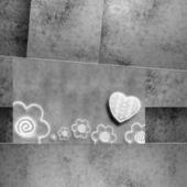 結婚式招待状やカード愛好家、心臓と花 — ストック写真