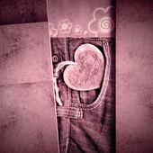 友谊卡、 牛仔裤和心 — 图库照片