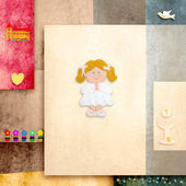 First communion invitation reminder, cute blonde girl — Stock Photo