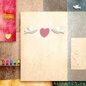 Holy communion invitation cute doves and heart — Stock Photo
