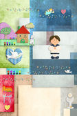 Sailor boy first holy communion, invitation card vertically — Stock Photo