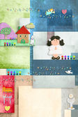 Brunette girl first holy communion, invitation card vertically — Stock Photo