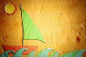Childlike drawing of sand, holiday sailing boat — Stock Photo