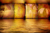Spa flower paintings in gilded aquatic background — Stock Photo