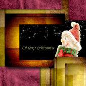 Cartolina postale di Natale pupazzo di neve — Foto Stock