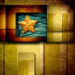 Stock Photo: Gold star background card