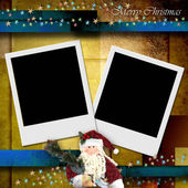 Photo frame merry christmas card — Stock Photo