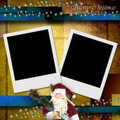 Photo frame merry christmas card — Stock Photo