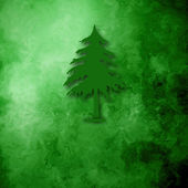 Christmas Cards, simple fir on green background — Stock Photo