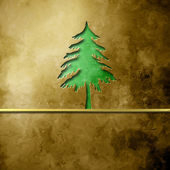 Christmas tree silhouette on brown background — Stock Photo