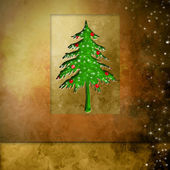 Golden background christmas tree — Stock Photo