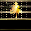 Christmas card background, black and gold fir with copy space — 图库照片