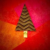 Christmas gratulationskort, fir tree i röd bakgrund — Stockfoto