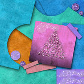 Cute Christmas background, scrap papers — Stock Photo