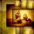 Religious Christmas Cards Nativiy Scene — Stock Photo #35268645