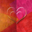 Two hearts romantic card in red tones, copy space — Stock Photo