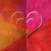 Dos corazones románticos en tonos rojos, espacio de copia de la tarjeta — Foto de Stock