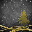 Christmas greeting card, Christmas tree gold — Stock fotografie