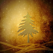 Golden Christmas tree, Christmas greeting card background — Stock Photo