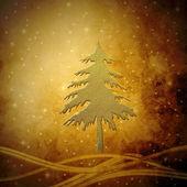 Golden Christmas tree, Christmas greeting card background — Stock Photo
