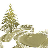 Gold christmas tree — Stock Photo