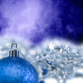 Blue Bright Christmas ornament out of focus blue blank — Stock Photo