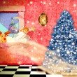 Cheerful child christmas magical scene — Stock Photo