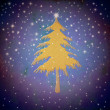 Christmas gold fir tree, starry sky — Stock Photo