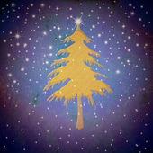 Christmas gold fir tree, starry sky — Fotografia Stock