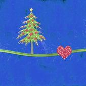 Blu amore cartolina d'auguri di natale, copia spazio — Foto Stock