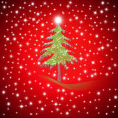 Red Christmas greeting Fir tree — Stock Photo