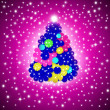 Cheerful Christmas Greeting card, fir multicolor flowers — Stock Photo #36584283