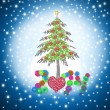 Beautiful Christmas card 2014 with shiny hearts tree — Stock Photo