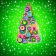 Hippie christmas tree greeting card — Stock Photo