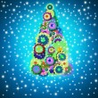 Cheerful Christmas tree greeting card — Stock Photo