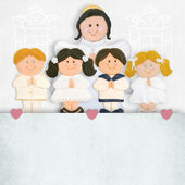 First communion invitation angel and children — Stock Photo