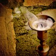 Unlit candle in candlestick antique bronze — Stock Photo #41089513